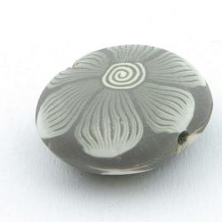 Fimokraal, ovaal, plat, grijs, 26 x 30 mm (3 st.)
