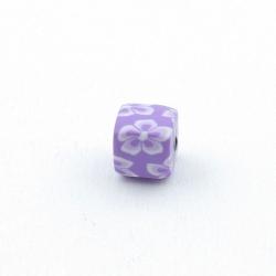 Fimokraal, blokje, lila, 8 mm (10 st.)