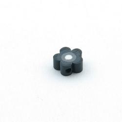 Fimokraal, bloemetje, zwart, 10 mm (10 st.)