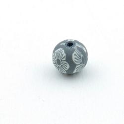Fimokraal, rond, grijs, 10 mm (10 st.)