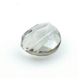 Glaskraal, ovaal met facetten, grijs, 24 mm (3 st.)
