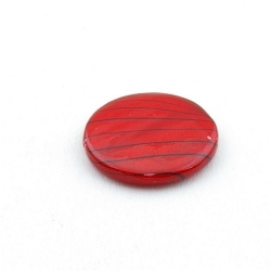 Schelp kraal, rond, rood/zwart, 20 mm (5 st.)