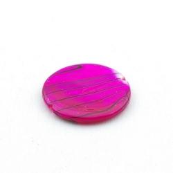 Schelp kraal, rond, roze/zwart, 20 mm (5 st.)