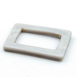 Schelp kraal, rechthoek, open, grijs, 30 x 20 mm (5 st.)