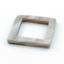 Schelp kraal, vierkant, open, grijs, 24 mm (5 st.)