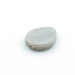 Schelp kraal, druppel, grijs, 20 mm (5 st.)