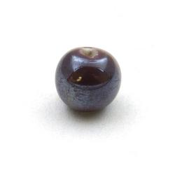 Keramiek kraal, rond, paars, 10 mm (5 st.)