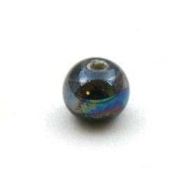 Keramiek kraal, rond, zwart, 10 mm (5 st.)
