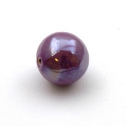 Keramiek kraal, rond, lila, metallic, 26 mm (1 st.)