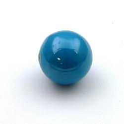 Keramiek kraal, rond, blauw, metallic, 26 mm (1 st.)