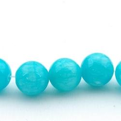 Gekleurd steen kraal, rond, blauw, 6 mm (streng)