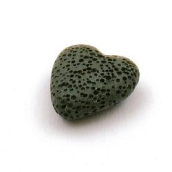 Lava, hanger, hart, legergroen, 22 mm (5 st.)