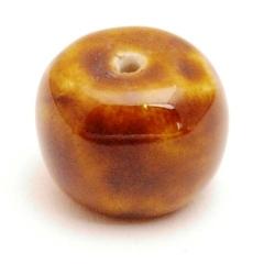 Keramiek kraal, rond (afgeplat), bruin, 18 mm (3 st.)