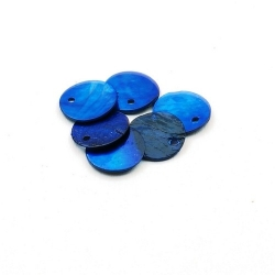 Schelpbedels, blauw, 12 mm (12 gr.)