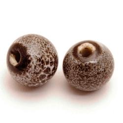 Keramiek kraal, rond, grijs, 12 mm (3 st.)