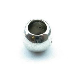 Metalen kraal, zilver, groot rijggat (8 mm), 12 mm (3 st.)