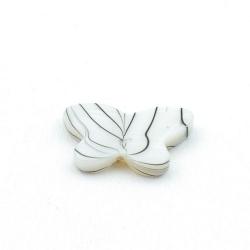 Schelp kraal, vlinder, wit/zwart, 15 x 22 mm (5 st.)