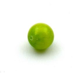 Gekleurd steen kraal, rond, appelgroen, 14 mm (3 st.)