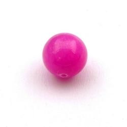 Gekleurd steen kraal, rond, roze, 14 mm (3 st.)