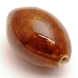 Keramiek kraal, ovaal, bruin, 30 x 20 mm (1 st.)