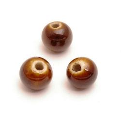 Keramiek kraal, rond, bruin, 8 mm (10 st.)