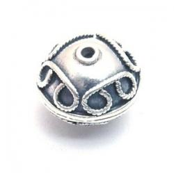 Bali bead sterling zilver kraal rond afgeplat 13 x 16 mm (1 st.)