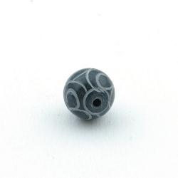 Halfedelsteen kraal, Jade, rond, gecarved, grijs, 12 mm (5 st.)