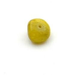 Gekleurd steen kraal, brok, olijfgroen, ca. 10 mm (streng)