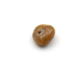 Gekleurd steen kraal, brok, bruin, ca. 10 mm (streng)