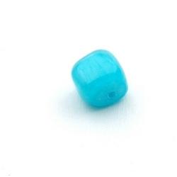 Gekleurd steen kraal, brok, blauw, ca. 10 mm (streng)