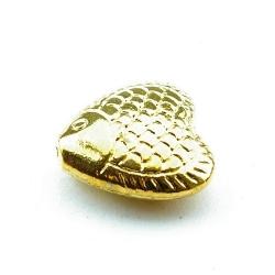 Metalen kraal, goud, hartvisje, 16 mm (3 st.)