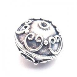 Bali bead sterling zilver kraal rond afgeplat 18 x 16 mm (1 st.)