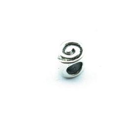 Metalen kraal, rond, 6 mm, groot rijggat van ca. 4 mm (5 st.)