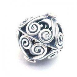 Bali bead sterling zilver kraal rond opengewerkt 16 mm (1 st.)