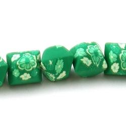 Fimokraal, hoekig, groen, 14 mm (streng)
