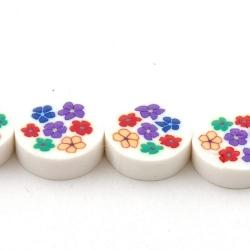 Fimokraal, rond, plat, wit/bloem, 16 mm (streng)