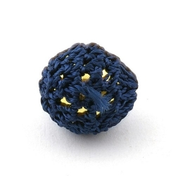 Gehaakte kraal, rond, goudkleurige kern, donkerblauw, 20 mm (5 st.)
