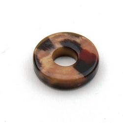 Schelp kraal, rond met gat, dierenprint, 20 mm (3 st.)