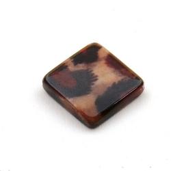 Schelp kraal, vierkant, dierenprint, 18 mm (3 st.)