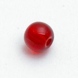 Glaskraal, rond, rood, 6 mm (20 st.)