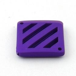 DQ Acryl kraal montagestuk wafel paars metallic 26 mm (3 st.)