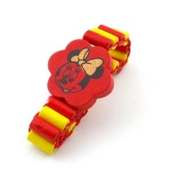 Houten kinderarmband, elastiek, rood/geel, Minnie Mouse