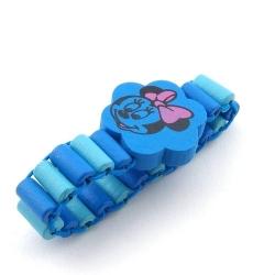 Houten kinderarmband, elastiek, lichtblauw/donkerblauw, Minnie Mouse