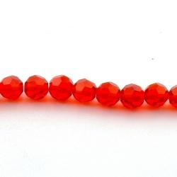 Glaskraal, rond met facetten, rood, 10 mm (streng)