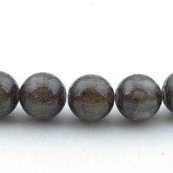 Gekleurd steen kraal, rond, grijsbruin, 12 mm (streng)