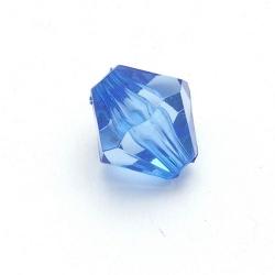 Kunststof kraal bicone facet blauw 14 mm (15 st.)