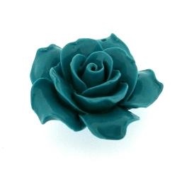 Hanger, roosje, turquoise, 34 mm (1 st.)