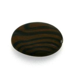Schelp kraal, rond, bruin/zwart, 24 mm (1 streng)