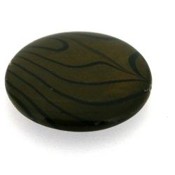 Schelp kraal, rond, bruin/zwart, 28 mm (1 streng)