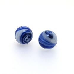Glaskraal, blauw met witte swirl, rond, 14 mm (5 st.)